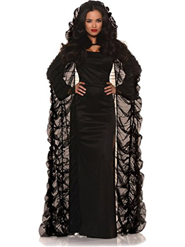 Faerynicethings Adult Size Black Chiffon Hooded Coffin Cape - Costume Accessory