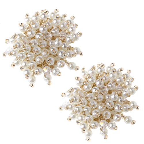 Simdoc 2pcs/set Pearl Shoe Clips,Beaded Flower DIY Shoe Accessories Decoration Clothes High Heels Wedding Shoes Ornaments Handmade Craft