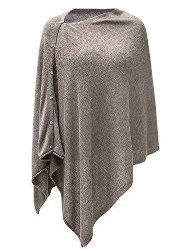 (Womens Cashmere Versatile Button Poncho Sweater Lightweight Cape Wraps for Spring Summer Autumn Mink Blend 2-8)
