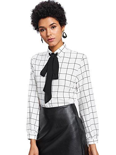 - SheIn Women's Bow Tie Neck Ruffle Long Sleeve Chiffon Shirt Blouse Top Plaid-White Small