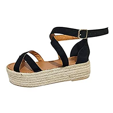 Gnpolo Womens Platform Sandals with Straps - Flat Open Toe Flatform Strappy Summer Shoes Black Size: 6