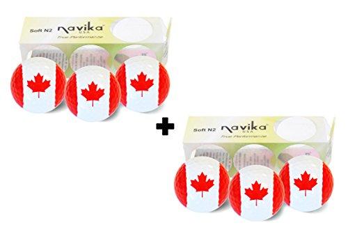 Navika GOLF BALLS- Canada Flag (2 sleeves of 3)- BLING BALLS! by