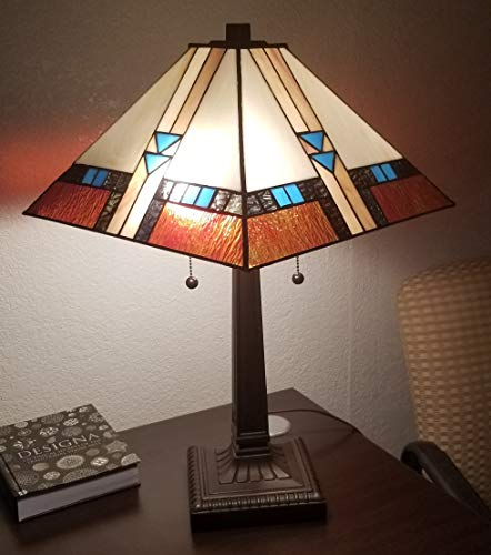 Tiffany Style Table Desk Beside Lamp 24 Inch Tall Sea Blue Stained Glass Shade Crystal Bead Lover Flower 2 Light Antique Zinc Base for Living Room Bedroom S558 WERFACTORY