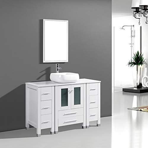 DodreHome 48 Modern Bathroom Vanity MDF Cabinet Combo with Ceramic Vessel Sink with Faucet and Pop Up Drain Set,Mirror Included,White Color