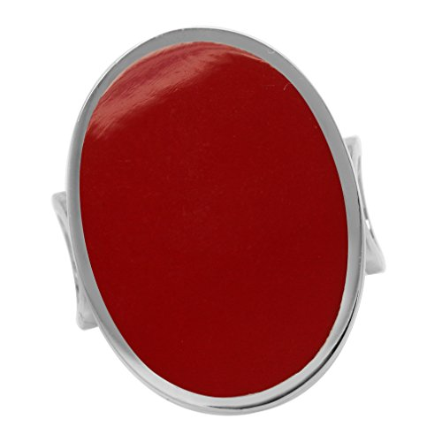 - Oval Shape Created Red Coral Inlay White Gold Plated 925 Sterling Silver Fashion Casual Ring Size 7