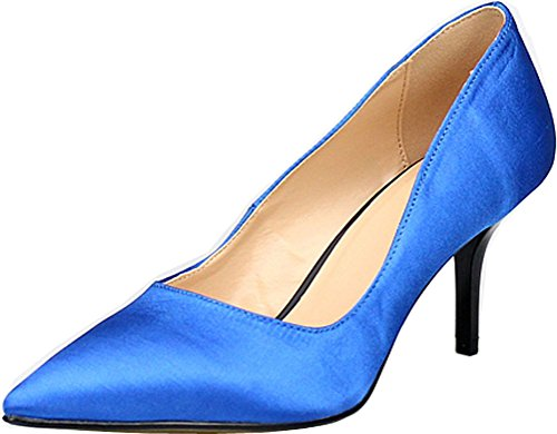 Abby G1 Womens Plus Size Kitten Heeled Nightclub Party Cross Dressing Party Wedding Overside US5-15 Closed Toe Slip On Satin Pumps Blue bzfcwfz