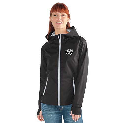 GIII For Her NFL Oakland Raiders Women's Onside Kick Light Weight Full Zip Jacket, X-Large, Black