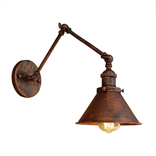Swing Arm Vintage (M-zmds Wall Lamps Vintage Industrial Adjustable Wall Light with Edison E27 1-light Wall Sconce, Cone Shade and Swing Arm in Old Copper (Color : Style A))