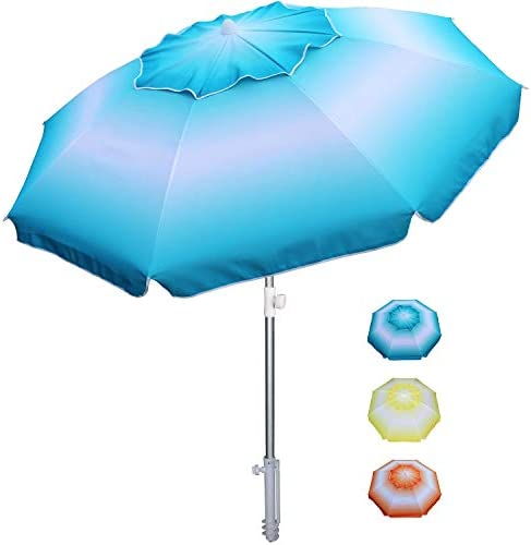 AMMSUN 6.5 ft Beach Umbrella with Tilt Aluminum Pole Separate Sand Anchor, Portable Windproof Beach Umbrella with UPF50 Protection, Easy Carry Bag Included Blue White
