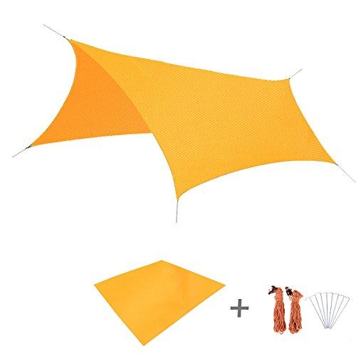 Triwonder Outdoor Waterproof Camping Shelter Footprint Groundsheet Beach Picnic Blanket Mat (Orange, L+Accessories)