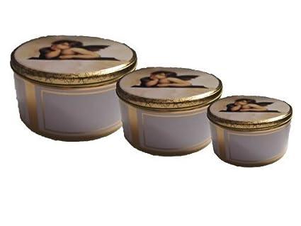 Conjunto de 3 cajas metálicas/galletas/cajas para galletas/Unidades de ángeles de
