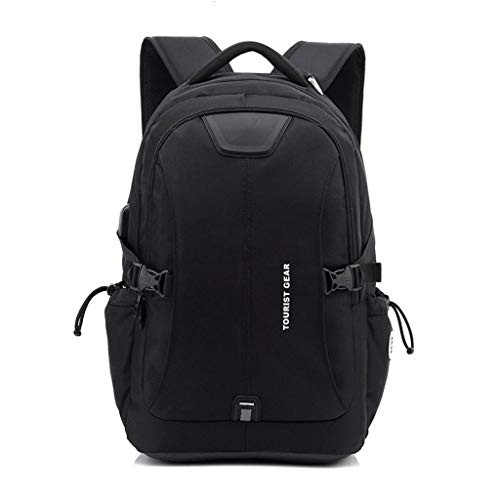 MEI Business Briefcase Men's Business Backpack with USB Charging Laptop Bag, Nylon Waterproof Large Capacity Travel Bag (Color : Black, Size : - Expandable Briefcase Exclusive Multi Compartment