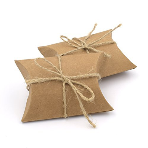 Chocolate Brown Gift Boxes - Hondex Gift Boxes 50 Pcs Kraft Paper Vintage Natural Pillow Boxes Candy Box for Wedding Party (Brown)