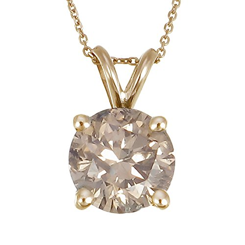 1 CT Champagne Diamond Solitaire Pendant 14K Yellow Gold