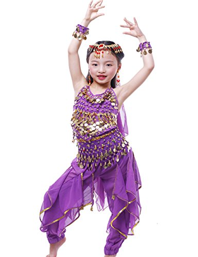 [Astage Girls Oriental Belly Dance Sets Costumes All accessories Purple S(Fits 3-5 Years)] (Child Dance Costume)
