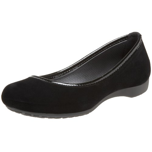 Crocs Women's Lily Winter Velvet Ballet Flat,Black/Black,6 M US