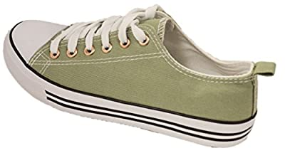 Shop Pretty Girl Women's Sneakers Casual Canvas Shoes Solid Colors Low Top Lace up Flat Fashion (7, Light Olive)