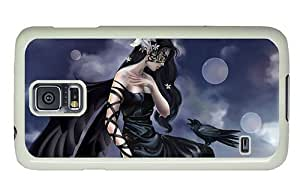 Hipster Samsung Galaxy S5 Case custom made cover Crow Girl Fantasy Art PC White for Samsung S5