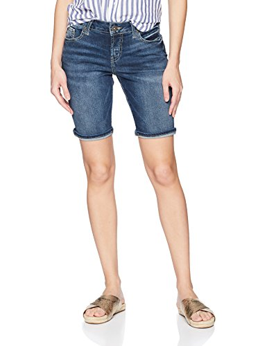 (Silver Jeans Co. Women's Suki Curvy Fit Mid Rise Bermuda Shorts, Dark Fluid Wash 25)