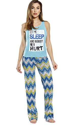 Turquoise Dot - Just Love 100% Cotton Women Pajama Ribbed Tank & Jersey Pant Sets, Chevron Dots - Turquoise, 1X Plus