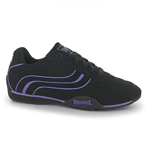 Lonsdale Camden Trainers Womens Black/Purple Casual Fashion Sneakers Shoes 6aF6x