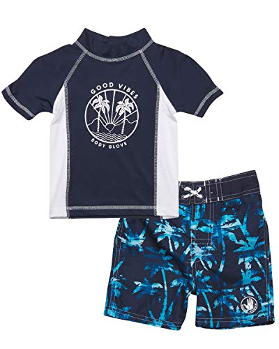 Body Glove Little Boys 2-Piece Rash Guard Swimsuit Set, Navy Good Vibes, Size 3T'