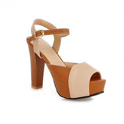 W&LM Sra Tacones altos sandalias Boca de pescado sandalias multa Tacones altos piel genuina palabra hebilla Flores Zapatos Black