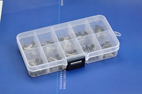 Electronics-Salon Bipolar Small-Signal Transistors Assorted Kit, 10 Types: 2N3904 2N3906 2SA1015 2SC1815 2N4401 2N4403 2N5551 2N5401 MPS2222A MPS2907A.