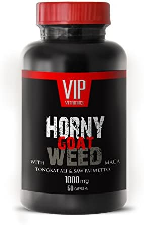 Horny Goat Weed 1000mg Natural Male and Female Enhancement Supplement with Muira Puama, Panax Ginseng Root and Tongkat Ali Powder for Stamina 1 Bottle 60 Capsules