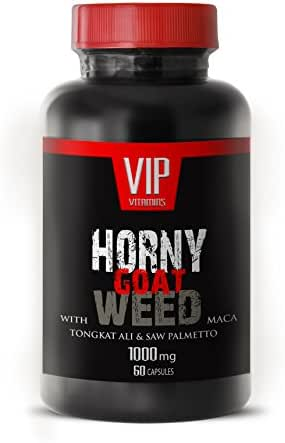 Horny Goat Weed 1000mg with Mucuna Pruriens, Muira Puama, Panax Ginseng Root and Tongkat Ali Powder for Stamina (1 Bottle 60 Capsules)