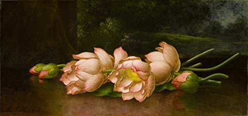 Berkin Arts Martin Johnson Heade Giclee Canvas Print Paintings Poster Reproduction(Lotus Flowers) ()