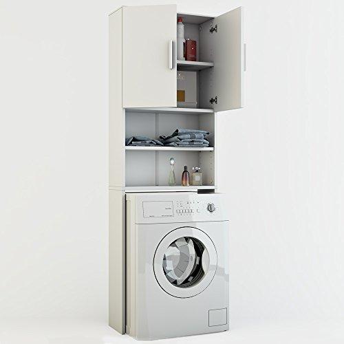 Badregal Hochschrank Waschmaschine Bad Schrank Badezimmerschrank Überbau weiss