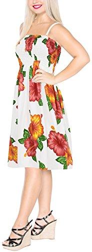 Vestido de LA de Correa Playa de Tubo a552 Rodilla hasta la Corto Mujeres Ocasionales Hibisco LEELA la las Encubrimiento Rojo Pwx8qrP