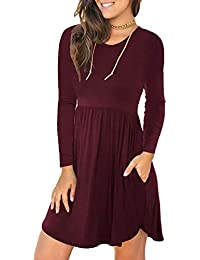 Women's Long Sleeve Loose Plain Dresses Casual Short Dress with Pockets