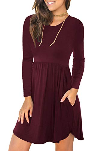 (Unbranded* Women's Long Sleeve Loose Plain Dresses Casual Short Dress with Pockets Wine Red XX-Large)