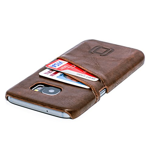 Dockem Card Case for Samsung Galaxy S7 - Vintage Synthetic Leather Wallet Case, Ultra Slim Professional Executive Snap On Cover with 2 Card Holder Slots, Brown
