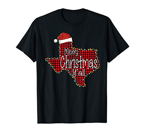 Red Plaid Texas State Map Santa Hat Merry Christmas Y'all T-Shirt (Shirt Y'all Texas Merry Christmas)