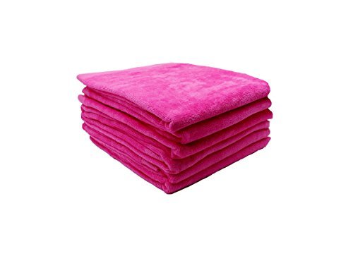 RobeSale Terry Cotton Hand Towels, Fuchsia, Set of 6