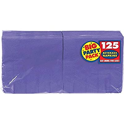 New Purple Beverage Paper Napkins Big Party Pack, 125 Ct.: Toys & Games