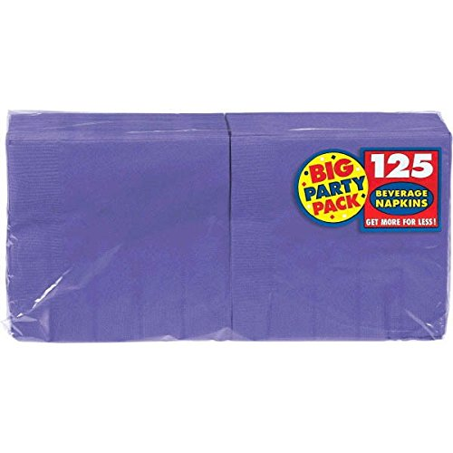 Amscan Big Party Pack 125 Count Beverage Napkins, New Purple (Group Costume Ideas)