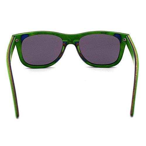 de Estilo Adulto protección Moda Gu Artesanal Madera Retro de UV400 con de de Sol Marrón Lente de Colorido Peggy para Bordes Gafas Color Verde Proteccion Unisex Ojos Color Tonos HwXxBnqqS