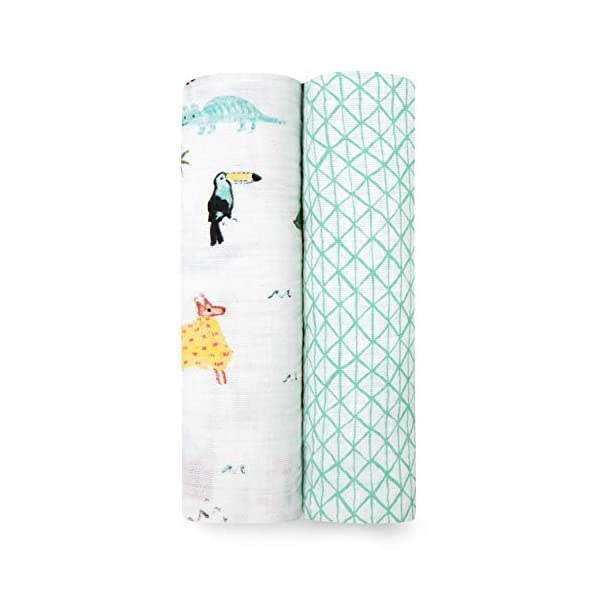 aden + anais Swaddle Blanket | Boutique Muslin Blankets for Girls & Boys | Baby Receiving Swaddles | Ideal Newborn & Infant Swaddling Set | Perfect Shower Gifts, 2 Pack, Around the World