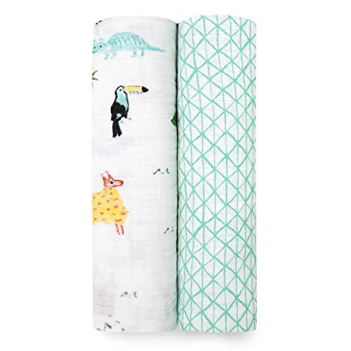 aden + anais Classic Swaddle Baby Blanket, 100% Cotton Muslin, Large 47 X 47 inch, 2 Pack, Around The World