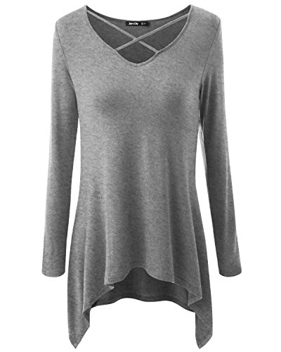 Women's Long Sleeve Casual Loose T-Shirt Basic Cotton Simple Tunic (Long Sleeve Bra)