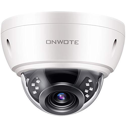 ONWOTE 【Audio】 5MP HD IP POE Security Camera Outdoor Dome Onvif, 5 Megapixels 2592x 1944P Super HD Vandalproof Camera, 100ft IR, 90° Viewing Angle, IP66 Waterproof, Remote Access, Motion Alert