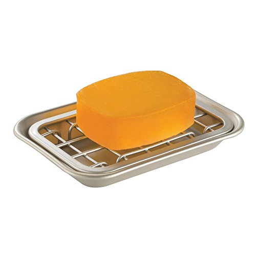 mDesign 2-Piece Soap Dish Tray for Kitchen Sink Countertops: Drainer and Holder for Soap, Sponges - Drainage Grid with Tray - Rust Resistant Stainless Steel Metal in Satin Finish (Bottom 4in Grid)