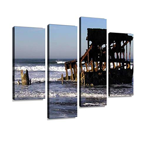 (Peter Iredale Shipwreck Canvas Wall Art Hanging Paintings Modern Artwork Abstract Picture Prints Home Decoration Gift Unique Designed Framed 4 Panel)