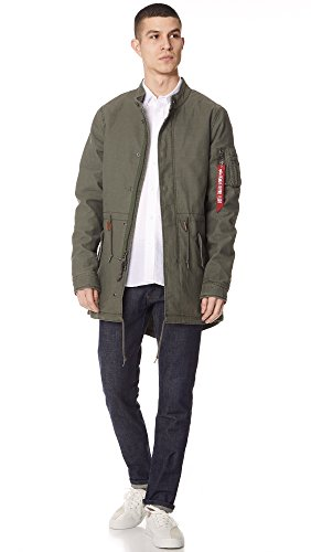 Olive Zip Men's Length Parka Alpha Recruit Jacket Fishtail Industries Medium Thigh Yvx57xqUw