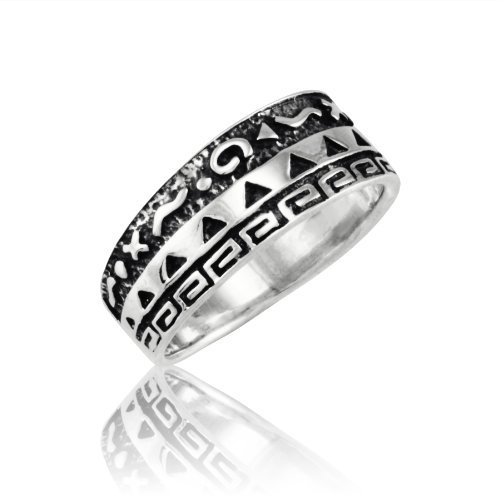 Withlovesilver Solid Sterling Silver 925 '' - o X - ๑ - X '' Native American Indian Band Ring 6 7 8 9 10 (6) by WithLoveSilver