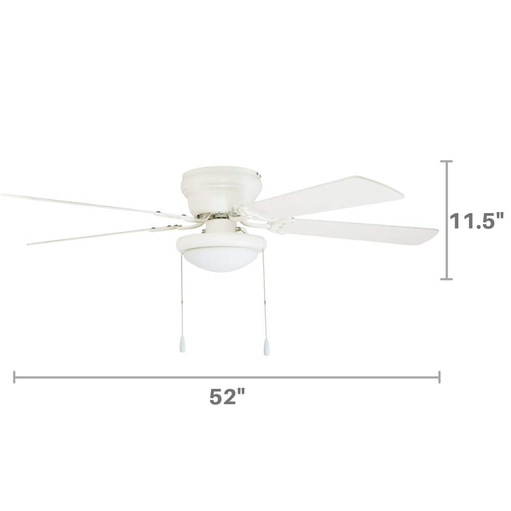 Portage Bay 50254 Hugger 52 White West Hill Ceiling Fan with Bowl Light Kit